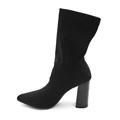 High Head Black Shoes Boots Mid New BERTERI Pointed Heel Women's Crude Calf Heel ZxRF1