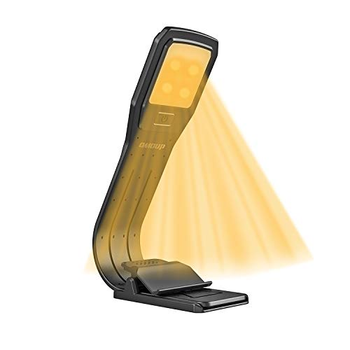 Book Lamp, OMOUP 4 LED Adjustable Brightness Book Light Rechargeable with Flexible Arm, Clip Bed Reading Lamp Bookmark Light Desk lamp Computer Lamp USB