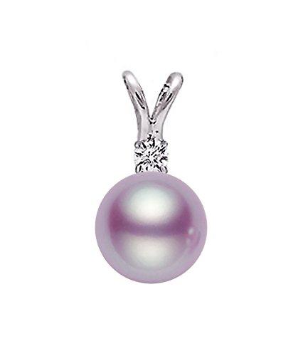 14K Or Blanc lavande perle de culture d'eau douce de qualité AAA diamant pendentif