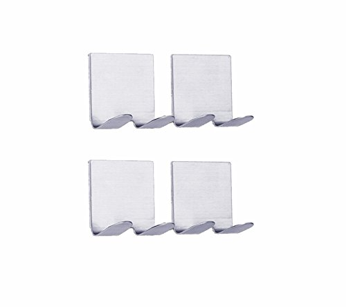 NELPLA Brushed Stainless Steel 4 PCS Self Adhesive Shaving Wall hooks, Razor Hooks, Towel hooks, Coat hooks,Fit for Bedroom,Living room, Bath room and Fitting room Hanger Wall Mount