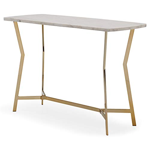 Contemporary Glam Metallic Gold Metal White Marble Top Console Table Sofa Table Furniture