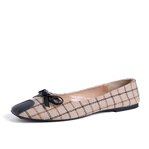 DETAIWIN Women's Penny Loafers Slip On Plaid Pointed Toe Driving Walking Flats Office Moccasins Shoes - Womens Shoes Bally