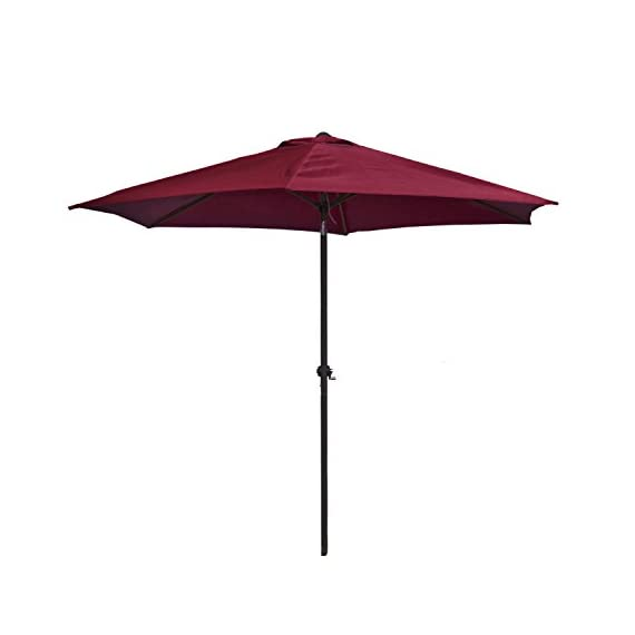 ALEKO UMB9FTBG Outdoor Patio Table Umbrella Waterproof Polyester with Tilt Adjustment 8 x 9 Feet Burgundy - ALEKO's patio umbrella offers shade is just what your patio needs so you can enjoy those clear warm days! Convenient hand crank opens the umbrella in less than a minute, and the canopy can be tilted to set the angle of your shade Fabric is made of waterproof, 180 grams per square meter polyester - shades-parasols, patio-furniture, patio - 31slU%2Ba55HL. SS570  -