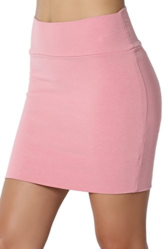 TheMogan Junior's Stretch Cotton Jersey Lined Bodycon Tube Mini Skirt Dusty Rose L