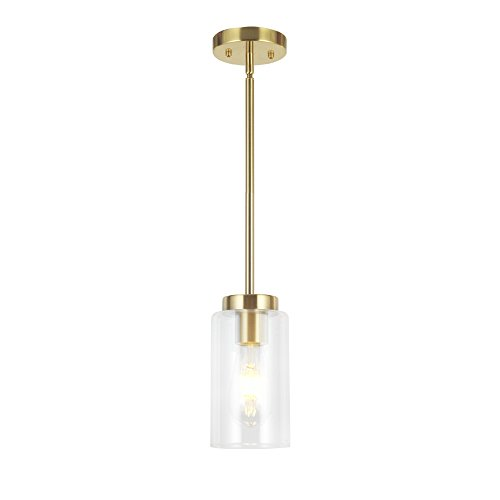 VINLUZ One Light Chandeliers Modern Clear Glass Pendant Lighting Brushed Brass Dining Room Lighting Fixtures Hanging Contemporary Lamp Semi Flush Mount Ceiling Lights