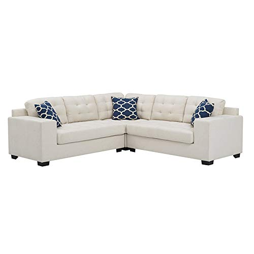Sectional Sofa with Chaise 3 Piece Set Linen Fabric Plump Stitching (White) 2019 Updated Model by Bliss Brands (Best Apartment Sofas 2019)