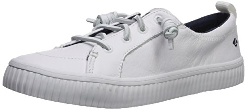 Sperry Top-Sider Women Crest Vibe Creeper Leather Sneaker, White, 11 Medium US
