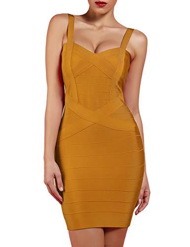 Women Ginger - UONBOX Women's Rayon Cute Sleeveless Bodycon Bandage Strap Dress (L, Ginger-Polyester)