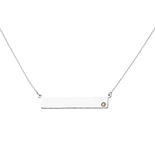 14k Gold Diamond Nameplate Necklace (14k White Gold Side-ways Bar Name Plate Adjustable Necklace 0.02 Dwt Diamond - 18 Inch)