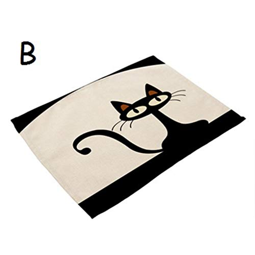 RXIN 4PCS/LOT 42X32CM Cute Cartoon Cat Print Table Napkins Dinner Napkins Dish Towel Tea Coffee Animal Table Cloth Decor Western Mats by RXIN