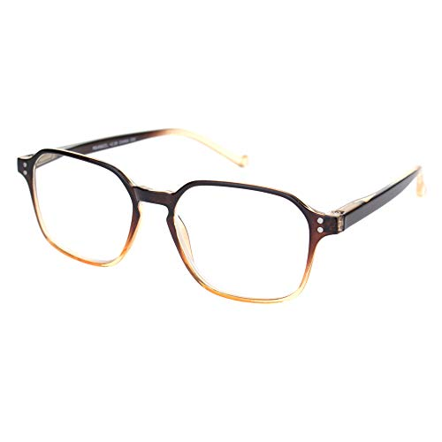- Thin Plastic Keyhole Rectangle Fashion Reading Glasses Brown Clear +4.0