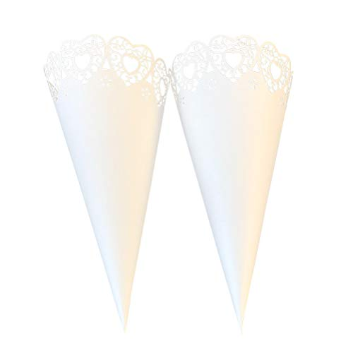 50pcs Hollow out Heart Pattern Dried Flower Cone Wrappers DIY Lace Paper Small Bouquet Packaging Flowers Wrapping Tube (White) ()