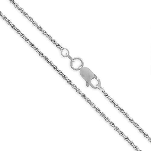 Sterling Silver Italian 1.5mm Rope Diamond-Cut Link Solid 925 Rhodium Twisted Chain Necklace 16