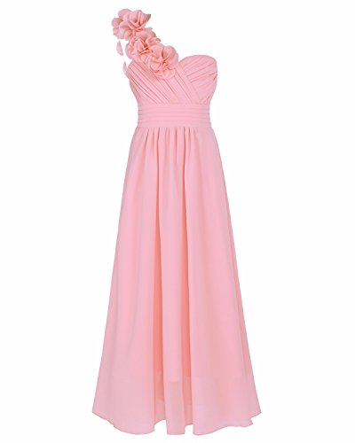 FEESHOW One Shoulder Flower Girl Junior Bridesmaid Long Dress for Wedding Party Pink 12