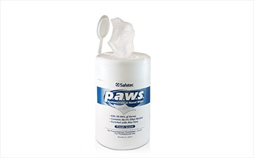 Safetec of America 34410 Paws Antimicrobial 160 Count Tub, Case of 12 by Safetec of America