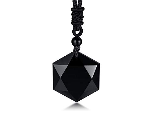 (VNOX Messianic Jewish Christian Jewelry Black Obsidian Crystal Cut Star of David Pendant Necklace with Handmade Rope 24