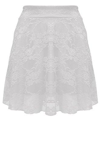Mesh Full Skirt (Womens High Waist Stretchy Full Mesh Lace Ladies Flared Short Mini Skater Skirt)