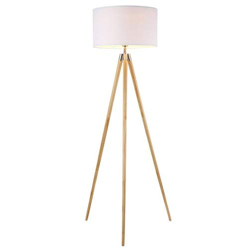 Light Society Celeste Tripod Floor Lamp, Natural Wood Legs with Satin Nickel Finish and White Fabric Shade, Mid Century Contemporary Modern Style (LS-F233-NAT) ()