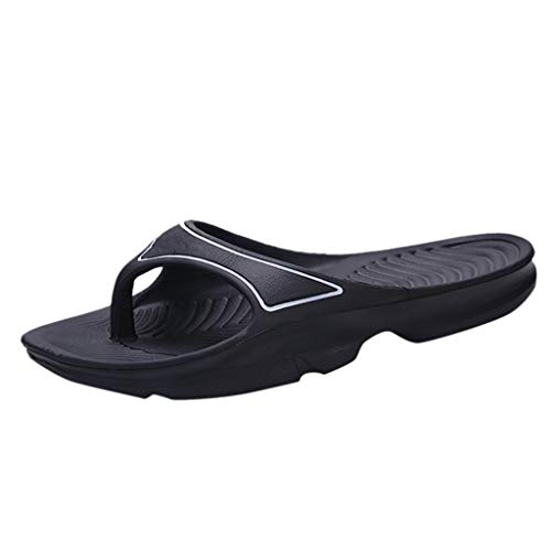 Mens Sandals Soft Cushion Sports Flip Flops for Men Summer Slippers Flat Shoes Black