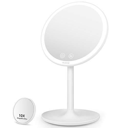 Auxmir Espejo Maquillaje con Luz LED, Espejo Cosmetico Pequeno con Aumento 10X, Espejo de Mesa Iluminado, Espejo de Pie con 3 Luces Ajustables, Plegable Recargable USB, Blanco