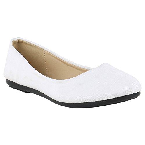 Stiefelparadies Klassische Damen Ballerinas Flats Leder-Optik Lack Metallic  Schuhe Glitzer Slipper Slip Ons Übergrößen