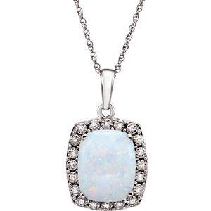 Collier en Opale et Diamant .05carat or blanc 14K