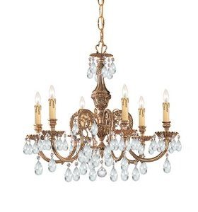 Crystorama 2906-OB-CL-SAQ Novella 6LT Chandelier, Olde Brass Finish with Clear Swarovski Spectra (Crystorama Swarovski Spectra Crystal Chandelier)