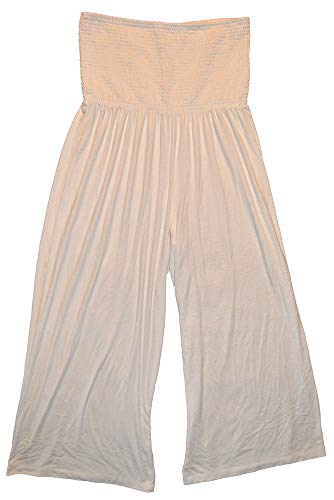 - GAP Womens White Smocked Knit Strapless Jumpsuit XXL