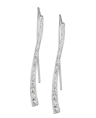 Crystalogy Women's Jewelry Silver Plated Crystal Long Curved Stick Earrings, White (More Colors - Hoop Dangle Diamond