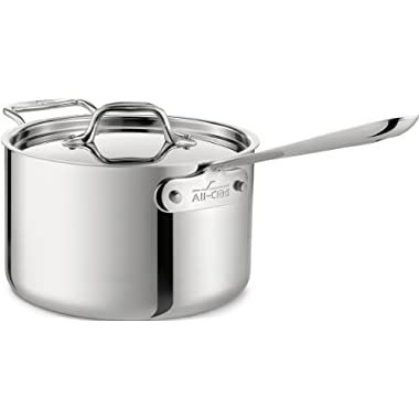 All-Clad 4203 with Loop Stainless Steel Tri-Ply Bonded Dishwasher Safe Sauce Pan with Loop Helper Handle and Lid Cookware, 3-Quart, Silver