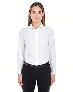 (UltraClub Women's Wrinkle Free Performance Woven Shirt, White, Medium)