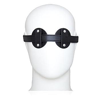 GEBDSM Sex Toy Unisex Erotic Black Red Leather Fetish Blindfold Mask Buckle Belt SM Bondage Restraints For Adult Couples Club Role Play Flirt Lingerie BDSM Kit (BLACK)