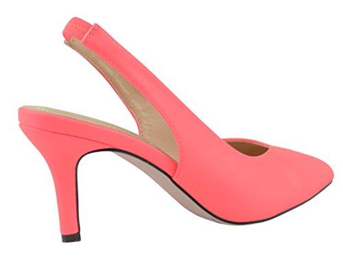Cambridge Select Womens Slip-On Closed Pointed Toe Stretch Slingback Mid Heel Pump Neon Pink Pu YRto9oMx