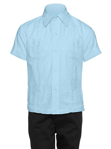 Gentlemens Collection Guayabera Shirt for Boys - Linen Look Cuban Shirt Great for Beach Wedding Light - Blue Light Linen Boys