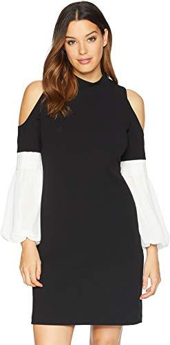 - Vince Camuto Womens Chiffon Bubble Sleeve Cold Shoulder Crepe Ponte Dress Rich Black XL