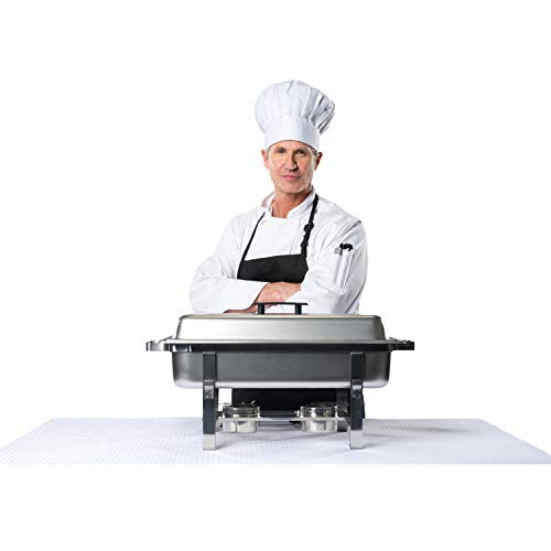 Chafing Dish Buffet Set w/Fuel — Folding Frame + Water Pan + Food Pan (8 qt) + 6 Fuel Holders + 6 Fuel Cans – 3 Full Warmer Kit by HeroFiber (Image #6)