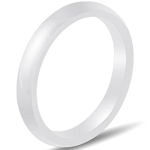 (Jude Jewelers 3mm Plain Simple Ceramic Ring Wedding Band Classical Anniversary Stackable (White,)