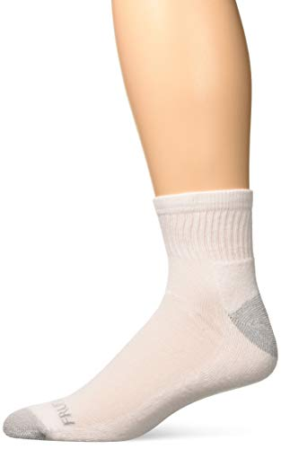 Fruit of the Loom Men's Half Cushion Dual Defense Ankle Socks (12 Pack), White, Shoe Size: 11-15