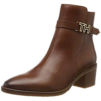 Tommy Hilfiger Damen TH Hardware Leather MID Bootie Stiefeletten, Braun (Ginger Bread 202), 40 EU 5