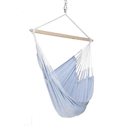 Colombian Hammock Chair   44 Inch   Natural Cotton Cloth (Powder Blue)