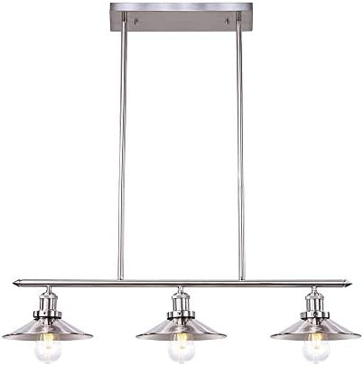 Wellmet 3 Lights Modern Pendant Lighting for Kitchen Island, Farmhouse Chandelier Dining Room Lighting Fixtures Hanging with Brushed Nickel Finish,Chandeliers Height Adjustable for Pool Table Silver