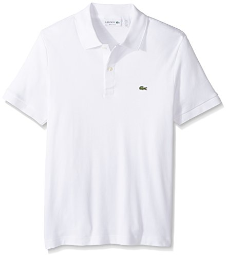 (Lacoste Men's Short Sleeve Pima Jersey Interlock Regular Fit Polo, DH2050, White, Large)