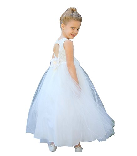 Ivory Floral Lace Heart Cutout Junior Flower Girl Dress Bridal Gown 172F 4 ()