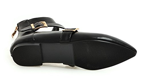 Aisun Damen Basic Kunstleder Spitz Zehen Cut Out Schnalle Knöchelriemchen Sandale mit Reißverschluss Schwarz