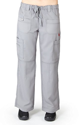 M&M Scrubs Women's Super Soft, Comfort Stretch, Junior Fit Contrast Stitch Cargo Pants L Grey / Grey