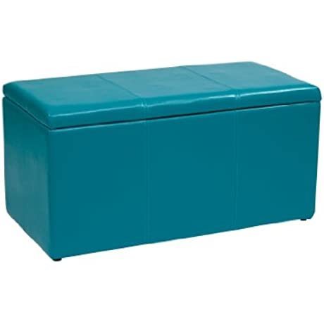 Office Star Metro 3 Piece Bench And Ottoman Cube Set In Vinyl Blue