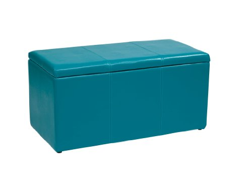 - Office Star Metro 3-Piece Bench and Ottoman Cube Set in Vinyl, Blue