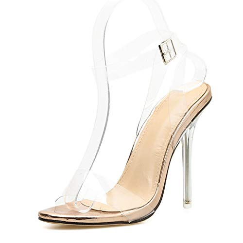 (JJHAEVDY Womens Clear Open Toe Slingback Stiletto Heel Pumps Summer Fashion Ankle Strap Party Dress Sandals)