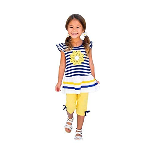 Kehen Kids Toddler Girls 2pcs Summer Outfits Daisy Flower Stripe T-Shirt Top + Bows Pant Sets (Yellow, 3-4T)