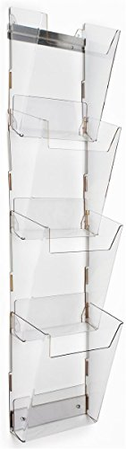 Magazine Wall Rack with 4 Pockets, Tiered, Frameless, Notched Front Panels, Durable Construction, High-Impact Acrylic, Clear